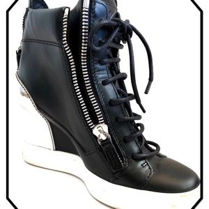Giuseppe Zanotti Design Leather Wedge Sneakers